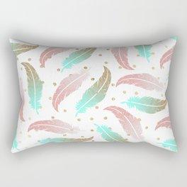 Bohemian pink teal gold glitter feathers polka dots Rectangular Pillow