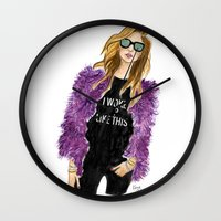 i woke up like this Wall Clocks featuring Chiara Woke Up Like This by Kara Ashley Shreeve