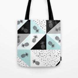 Teal black white dots pineapple geometrical color block Tote Bag