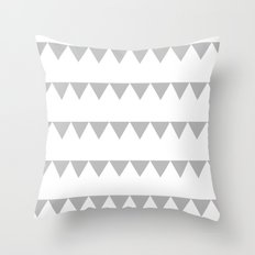 TRIANGLE BANNERS (Gray) Throw Pillow