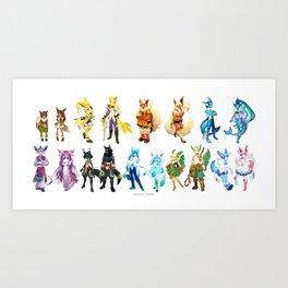 Eeveelutions Concept Art Art Print