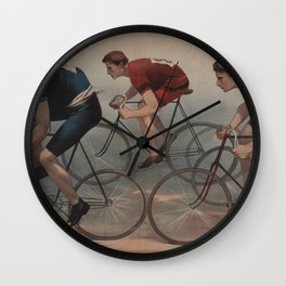 Vintage Cyclist Race Illustration (1896) Wall Clock