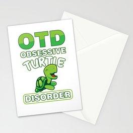 OTD Obsessive Turtle Disorder Funny Sea Creature Animals Wildlife Aquamarine Marine Life Turquoise G Stationery Cards
