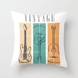 Guitar Vintage Color Throw Pillow
