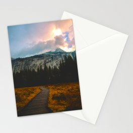 Path leading to Mountain Paradise Mountain Snow Capped Pine trees Tall Grass Sunrise Landscape Stationery Cards