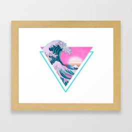 Vaporwave Aesthetic 90's Great Wave Off Kanagawa Framed Art Print