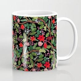 Christmas Floral Black Coffee Mug