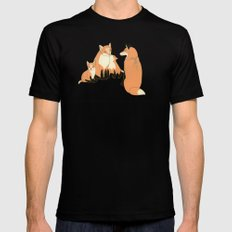 Fox family in the autumn forest MEDIUM Black Mens Fitted Tee