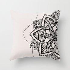 Almost black on white mandala Throw Pillow