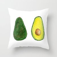 avocado Throw Pillows featuring Avocado  by Amelia Jayne