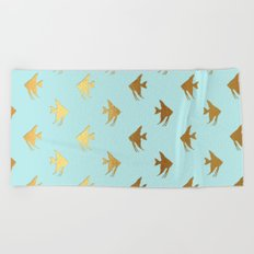 Gold Metal Foil Fish Pattern-Golden Fishes on Aqua Beach Towel