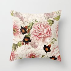 Vintage Peony and Ipomea Pattern - Smelling Dreams by #UtART Throw Pillow