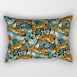Bengal Tiger Teal Jungle Rectangular Pillow