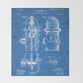 Fire Fighter Patent - Fire Hydrant Art - Blueprint Throw Blanket