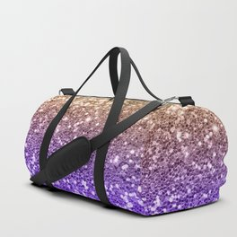 Luxury modern violet lilac faux gold sequins glitter Duffle Bag