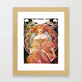 Alphonse Mucha Daydream Floral Vintage Art Nouveau Framed Art Print