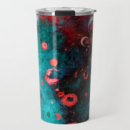 Red Turquoise Textured Abstract Travel Mug