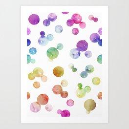 Rainbow Bright Pastel Watercolor Drops and Bubbles Art Print