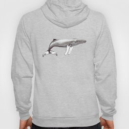 Humpback whale black and white ink ocean decor Hoody