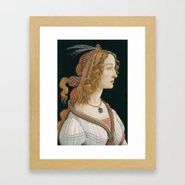 "Sandro Botticelli ""Idealized Portrait of a Lady (Portrait of Simonetta Vespucci as Nymph)"" Framed Art Print"