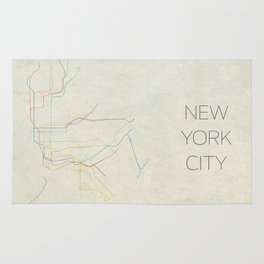 Minimal New York City Subway Map Rug