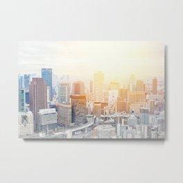 city skyline under sunrise in Osaka, Japan Metal Print
