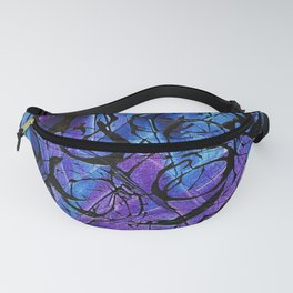 Blue and Purple with Black Tar Acrylic Swirls Fanny Pack
