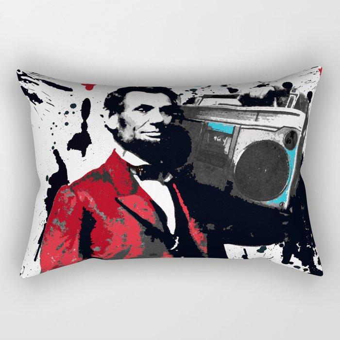 ABRAHAM LINCOLN INK SPLASH RED MAKE MUSIC NOT WAR Rectangular Pillow