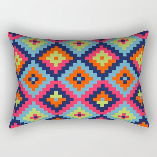 Aztec pattern - blue, green, orange, pink Rectangular Pillow