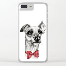 Whippet Wearing Bow Tie Clear iPhone Case