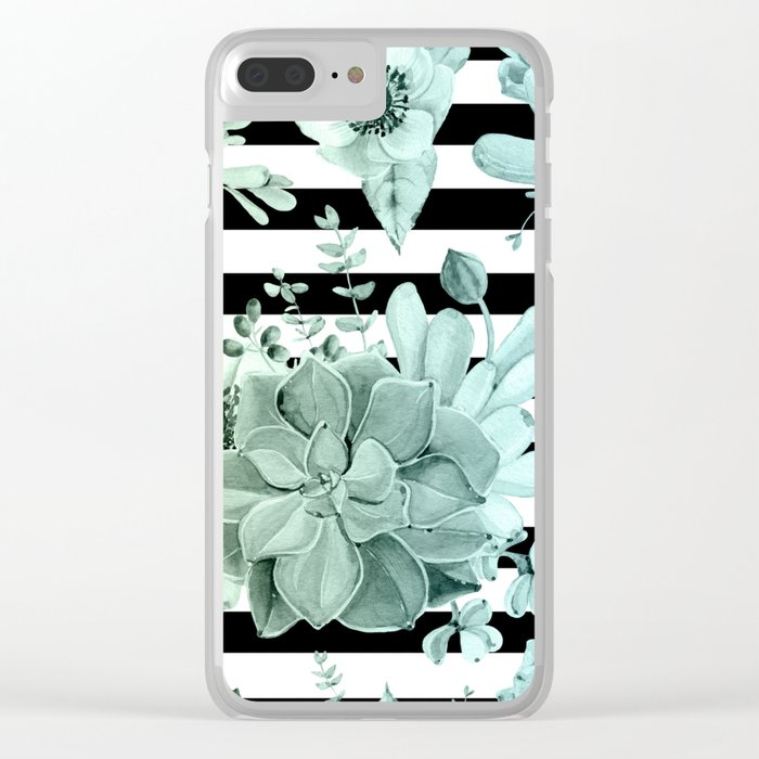 Succulents in the Garden Teal Blue Green Gradient with Black Stripes Clear iPhone Case