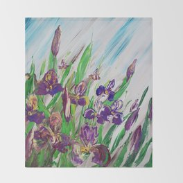 Iris Palette knife flowers painting floral art green violet blue by Ksavera Throw Blanket