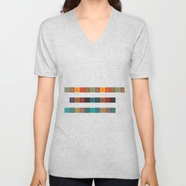 She Believed, She Could, So She Did... Inspirational Quote with Multicolor Mosaic Srt Unisex V-Neck