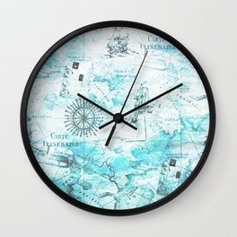 Blue Nautical Map Wall Clock