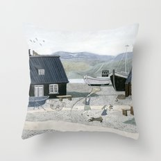 North Fishing Village Throw Pillow