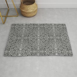 Black and White Wildfire Flames Rug