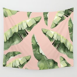 Banana Leaves 2 Green And Pink Wall Tapestry