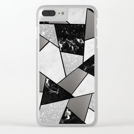 Black White Silver Geometric Glam #1 #geo #decor #art #society6 Clear iPhone Case