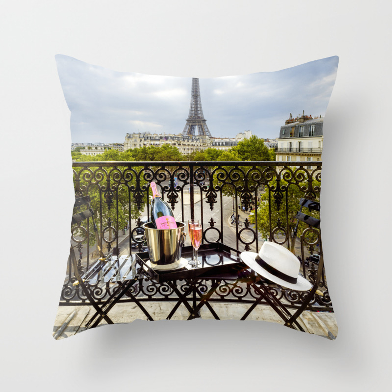 Eiffel Tower Paris Balcony View Throw Pillow By Susannekremershop Society6