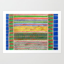 Colorful Stitches on Horizontal Colorful Stripes Art Print
