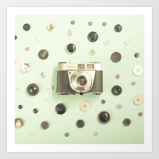 Camera on buttons (Retro and Vintage Still Life Photography) Art Print