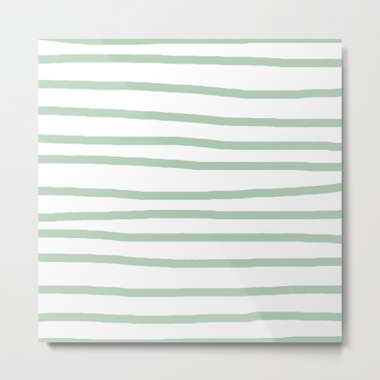 Simply Drawn Stripes Pastel Cactus Green and White Metal Print