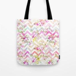 Chic vintage elegant pink flowers chevron pattern Tote Bag