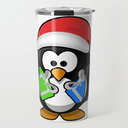 Penguin with Gifts Travel Mug