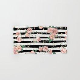 VINTAGE FLORAL ROSES BLACK AND WHITE STRIPES Hand & Bath Towel