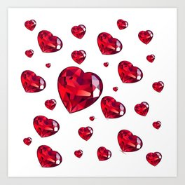 MODERN ART RAINING RUBY RED VALENTINES HEARTS Art Print