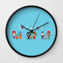 Love is Love Blue - We Are All Equal Wall Clock