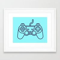 playstation Framed Art Prints featuring Playstation 1 Controller - Retro Style! by Rikard Röhr