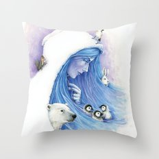 Lady Winter / Dame Hiver Throw Pillow