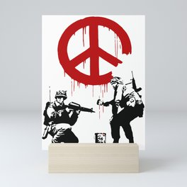 Soldiers Painting Peace Symbol, Banksy, Streetart Street Art, Grafitti, Artwork, Design For Men, Wom Mini Art Print